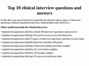 Top 10 clinical interview questions and answers