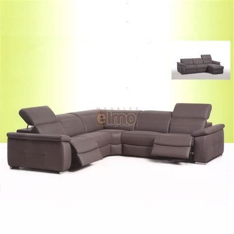 canap 233 angle relax 233 lectrique cuir vachette t 234 ti 232 re r 233 glable