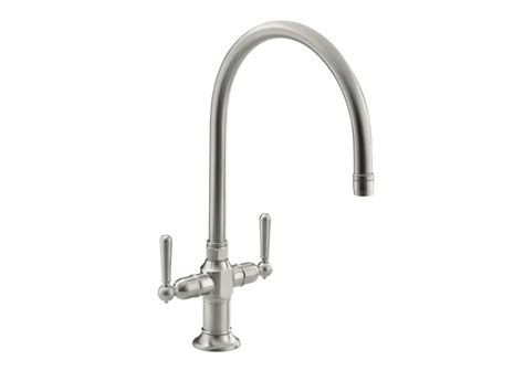 Kitchen Sink Handle by Kohler Hirise Two Handle Kitchen Sink Faucet In Brushed