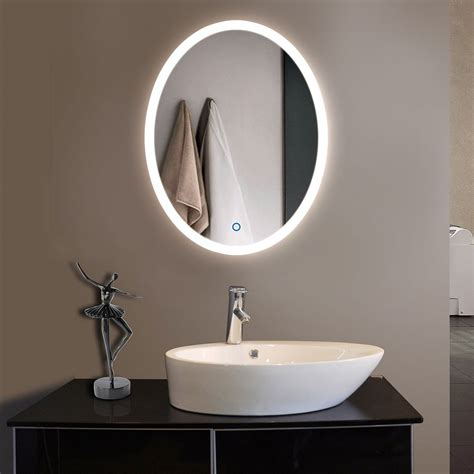 led bathroom mirrors 24 x 32 in vertical oval led bathroom silvered mirror with 13432