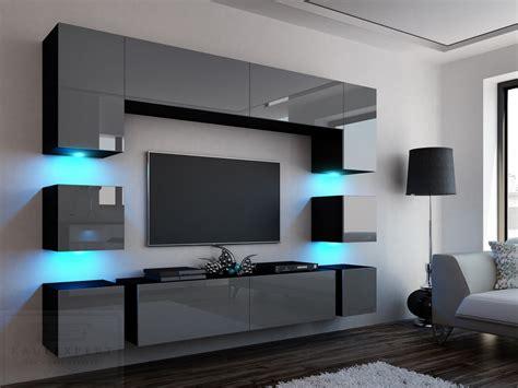 Wohnzimmer Wand Design by Kaufexpert Wohnwand Quadro Grau Hochglanz Schwarz 228 Cm