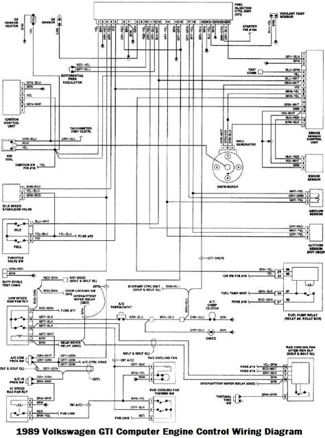 1996 Vw Gti Engine Diagram by 1989 Volkswagen Golf Gl Gti Electrical Wiring Diagram