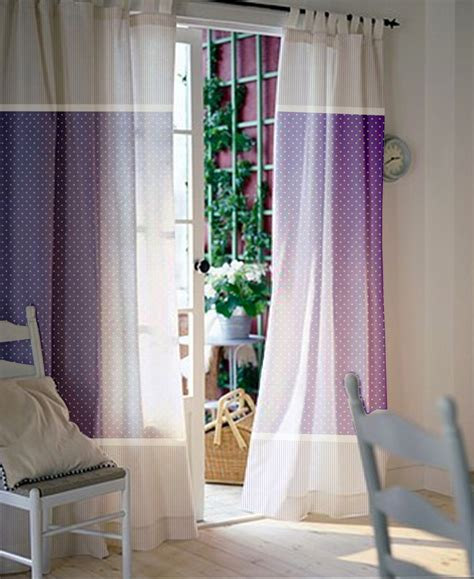 purple and white polka dot pattern curtain for