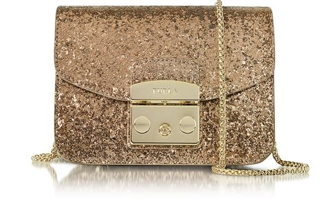 furla bronze glitter metropolis mini crossbody bag at forzieri