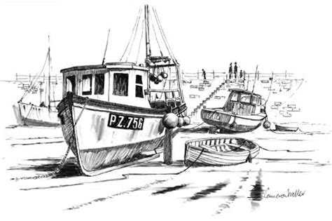 Village Boat Drawing by Fishing Boat Drawing