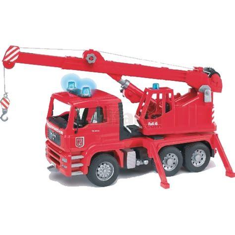 bruder fire truck bruder 02770 man fire engine crane truck with lights and
