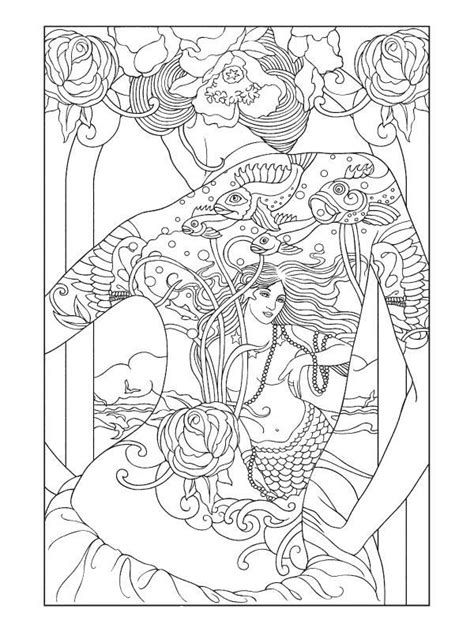 Tattooed Oriental Lady   Designs coloring books, Coloring