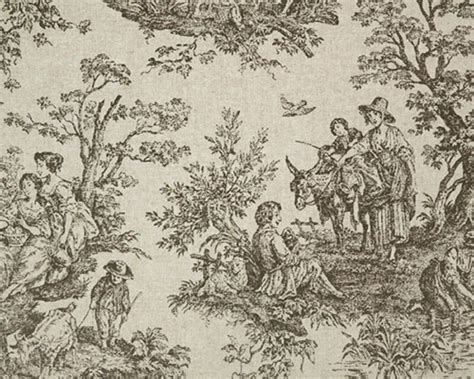 Toile Drapery Fabric - drapery upholstery fabric cotton blend linen look toile