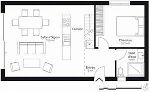 plan maison 60 m2 avec 2 chambres ooreka With plan maison a etage 2 chambres