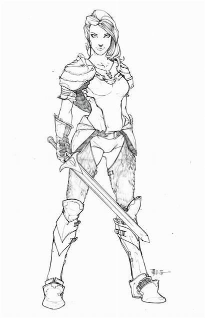 Warrior Coloring Anime Drawing Deviantart Princess Female