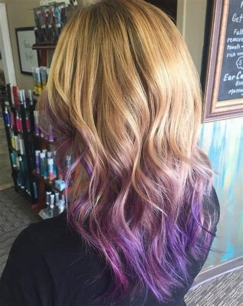 Layered Bronde Waves With Purple Ombre Ed Ends V Haircut