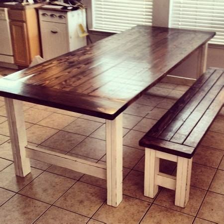 stained  distressed farmhouse table  bench