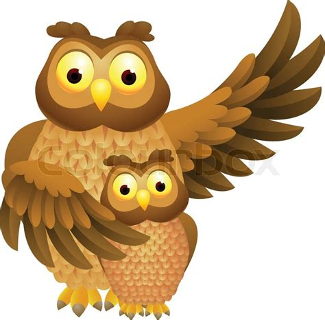 mother owl  baby owl stock vector colourbox