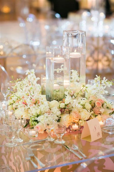floral wreath wedding centerpieces  floating candles