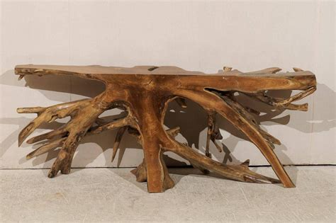 whimsical teak root wooden console table  sale  stdibs