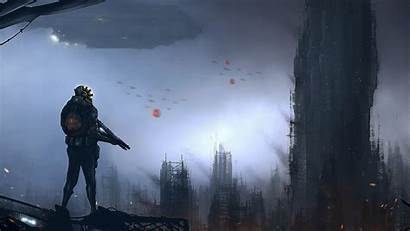Security Guard Futuristic Town Overcast Spaceship Weapons