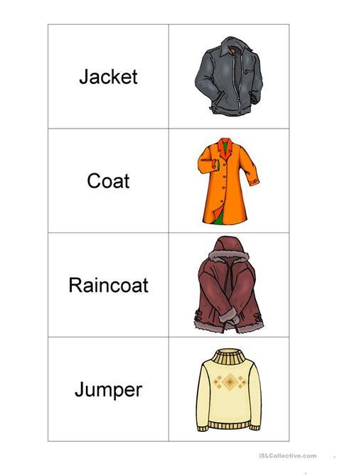 clothes flashcards worksheet  esl printable