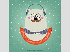 Hipster christmas bear illustration Vector Free Download