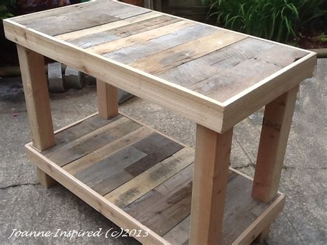 table cuisine palette pallet project kitchen island work table joanne inspired