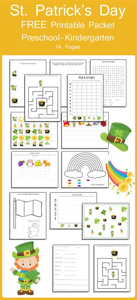 st patricks day preschool  kindergarten packet