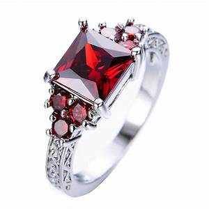 July Birthstone Ruby Princess Ring - BlazeMall