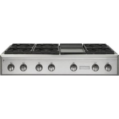 gas stove tops with griddle zgu486ndpss ge monogram 48 quot professional gas rangetop with 6 burners and griddle natural gas