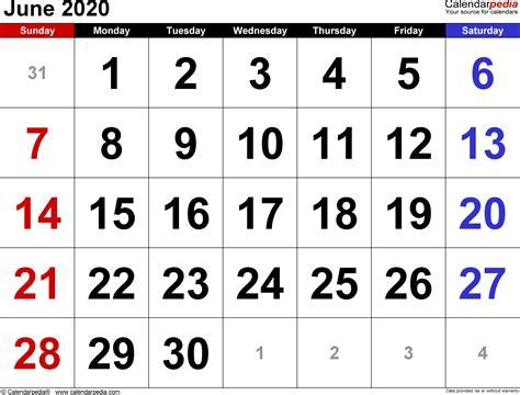 june calendars word excel