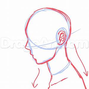 Step 8. Side View Male Anime Face Drawing Tutorial
