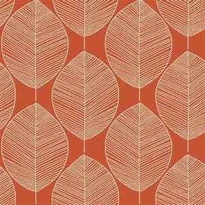 Arthouse Retro Leaf Wallpaper in Amber 408208