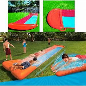 tapis de glisse xxl geant double toboggan eau piscine avec With tapis de glisse aquatique