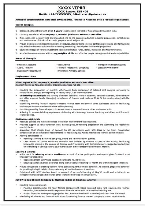 profile title for finance resume sle resume for freshers finance sle resume