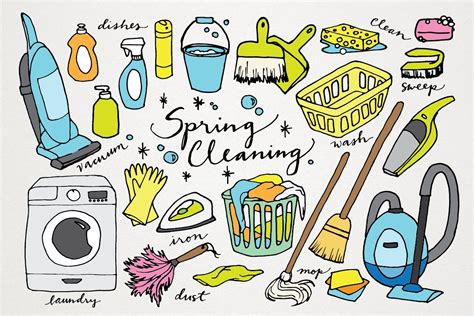 spring cleaning hand drawn clipart illustrations
