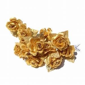 Gold Silk Rose Flowers Craft DIY Pomander Christmas