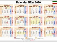 Kalender 2020 NRW Ferien, Feiertage, PDFVorlagen