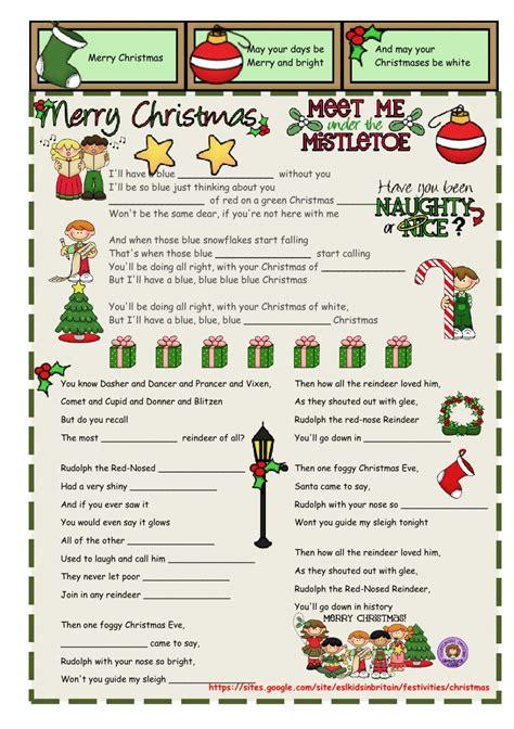 christmas carols interactive worksheet