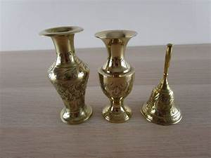 set, , lot, of, 3, vintage, brass, vases, , u0026, bell, ornaments, etched, , engraved, indian, bundle
