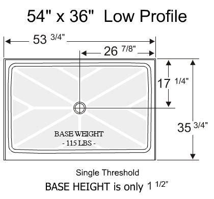 Shower Base 54 X 36 - standard showers