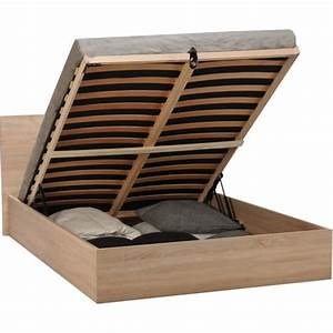 Lit Coffre 160x200 : lit coffre barcelona couchage 160x200 cm pas cher prix auchan ~ Teatrodelosmanantiales.com Idées de Décoration