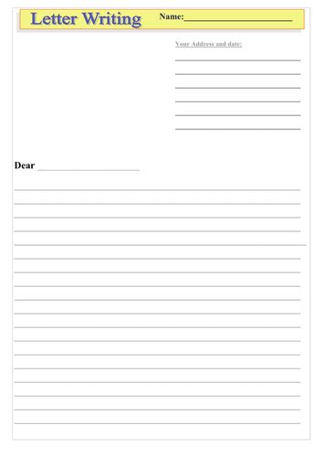 letter writing template  imwells teaching resources tes