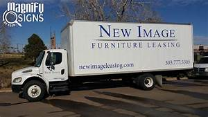 furniture leasing company adds truck lettering to box With vinyl lettering denver
