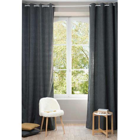 chenille charcoal grey eyelet curtain 140 x 300 cm