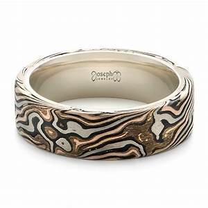 custom men39s white gold and mokume wedding band 102369 With custom wedding rings men