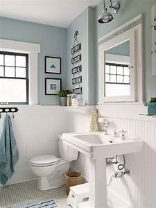 33 wainscoting ideas with pros and cons digsdigs for Best brand of paint for kitchen cabinets with aqua bathroom wall art