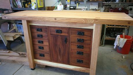 black   green locust workbench finewoodworking