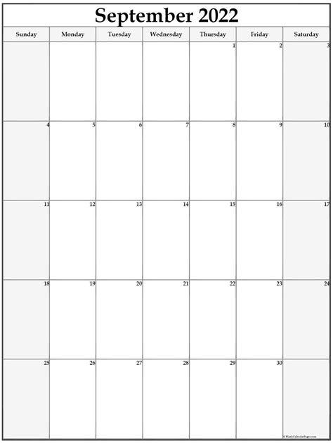 september  vertical calendar portrait