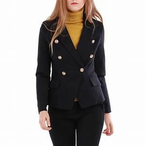 Blazer Femme Noir : veste blazer noire style officier femme pas cher la modeuse ~ Preciouscoupons.com Idées de Décoration
