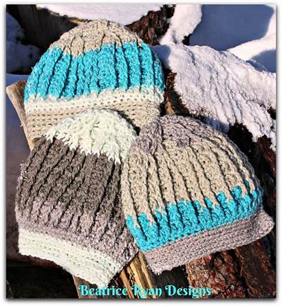 Crochet Pattern Mountain Beanie Snow Snowy Materials