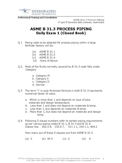 ASME_B31.3_Daily_Exam_1 | Pipe (Fluid Conveyance) | Gases