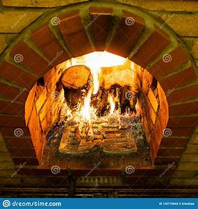 Above, View, Of, Brick, Fireplace, With, Fire, Stock, Image