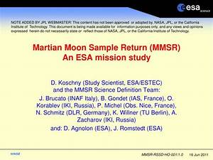 PPT - Martian Moon Sample Return (MMSR) An ESA mission ...